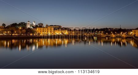 Evening Night Panorama Of The City Of Tavira. Portugal, Algarve.