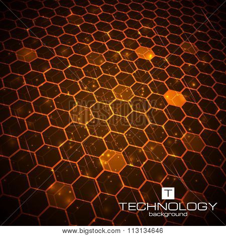 Technology background with honeycomb texture.