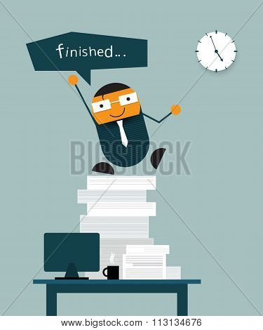 Happy businessman finish his work on time