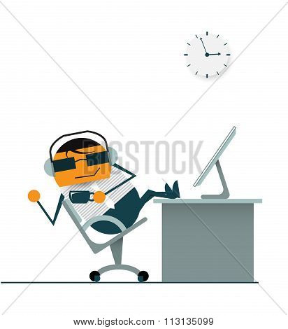 cartoon businessman relaxing on swivel chair. And drinking hot coffee at coffee time