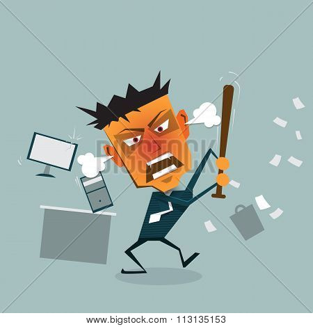 Vector cartoon Angry Businessman goes mad at the office