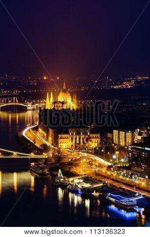 Budapest Night Panorama With Hungarian Parliament