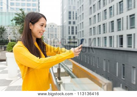 Woman check the text message on cellphone