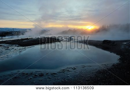 Hot spring in Haukadalur in Iceland
