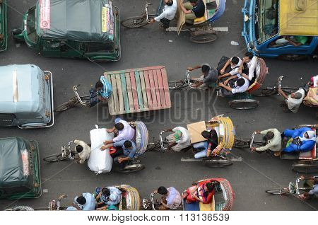 Aerial view of traffic jam in Dhaka, Bangladesh