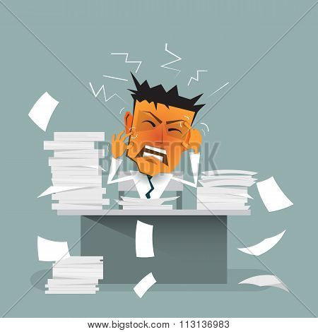 Vector cartoon businessman busy,stress or tension overworked depressed and exhausted