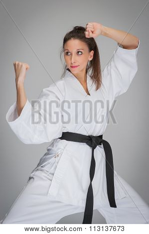 Martial Arts Woman In Combat Pose.
