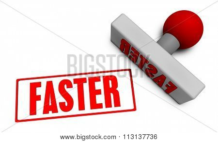 Faster Stamp or Chop on Paper Concept in 3d