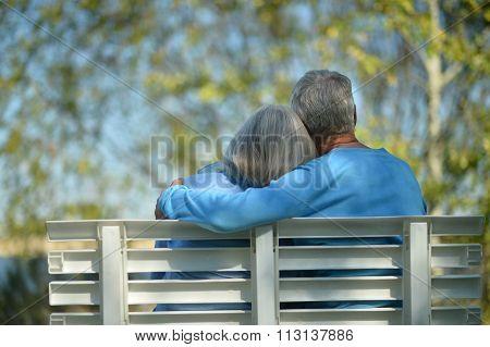 Senior couple resting at park