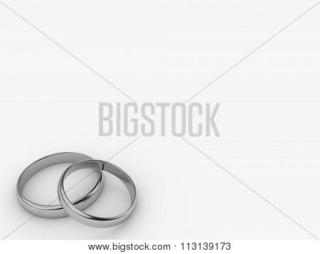 Two Wedding Gold Rings With Blank Space