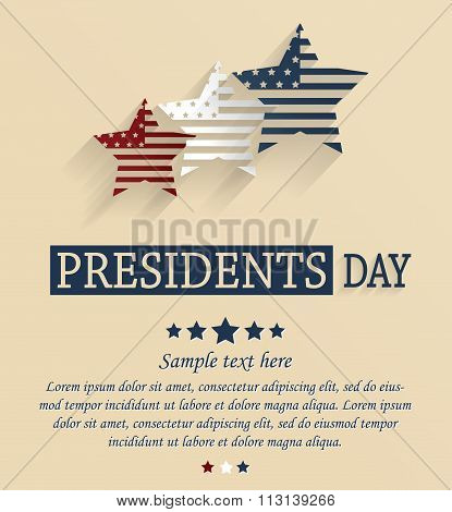 Presidents Day card with stars. Red, white and blue stars