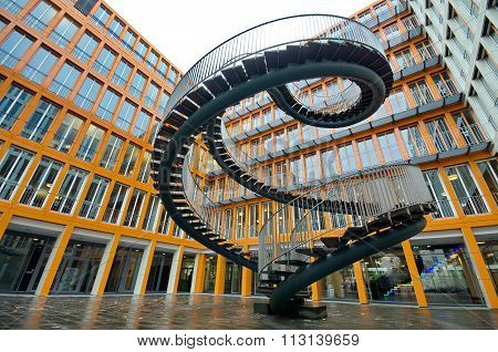 MUNICH, GERMANY - OCTOBER 30 :Endless steel stairway in Munich designed by Olafur Eliasson