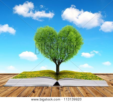 Book with a tree in the shape of heart. Valentines day.