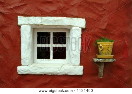 Beautiful Window In Red Wall