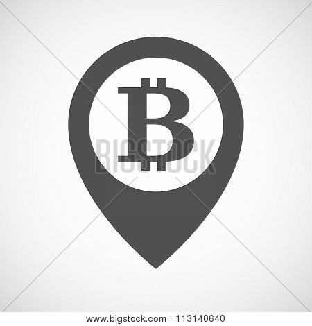 Isolated Map Marker With A Bit Coin Sign