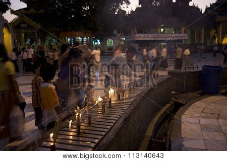 Yangon, Myanmar - Feb 19 : The Atmosphere Of Shwedagon Pagoda On February 19, 2011, In Yangon, Myanm