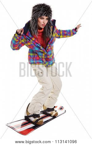 Young snowboard woman racing downhill slope and freeride isolated on white