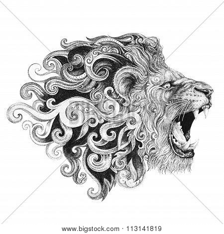 Tattoo Head Grinning Lion