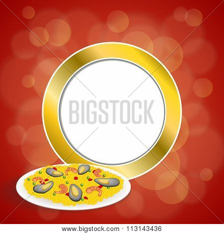 Abstract background food paella rice peas pepper shrimp mussel green red gold circle frame