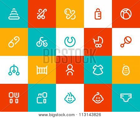 New born and baby icons. Flat style