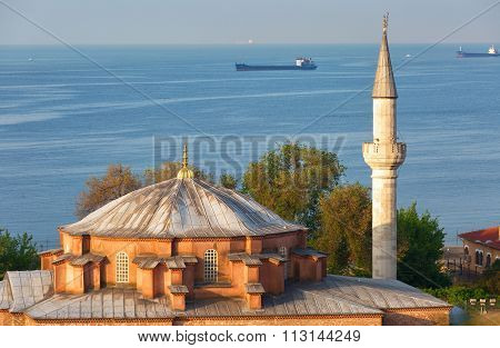 Istanbul, The Mosque In The Foreground, In The Background Sea Of Marmara And Ships