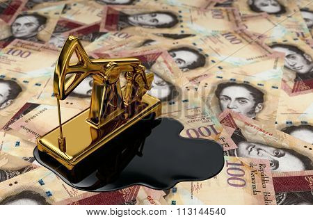 Golden Pumpjack And Spilled Oil On Venezuelan Bolivars