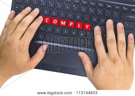 Hands On Laptop With Word On Keyboard Buttons Against White Background.
