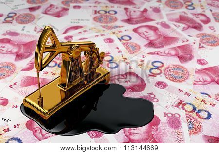 Golden Pumpjack And Spilled Oil On Chinese Yuan