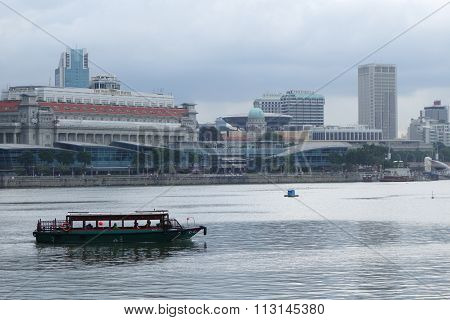 Tourist Boat Floating On Singapore River