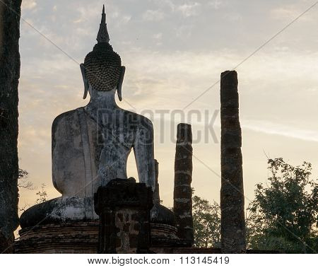 Buddha Buddhist temple ruins in Sukhothai historical park Wat Mahathat.