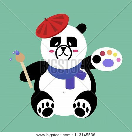 Panda Bear artist with brush and palette of paints. flat vector