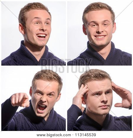 Pleasant young man expressing emotions