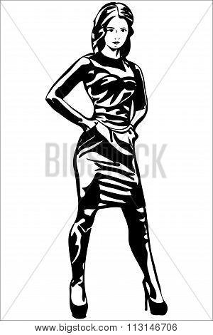 Sketch Beautiful Girl In Dress