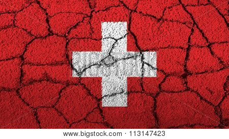 Flag of Switzerland, Swiss flag painted on cracked ground