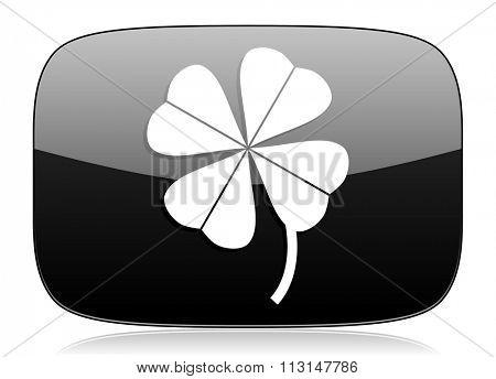 four-leaf clover black glossy web modern icon
