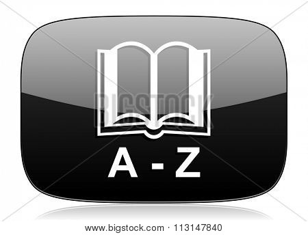 dictionary black glossy web modern icon