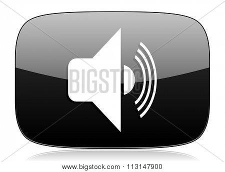 volume black glossy web modern icon