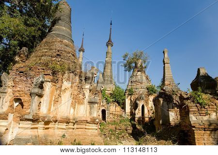 Ancient Ruins Of Buddhist Stupas In  Indein.
