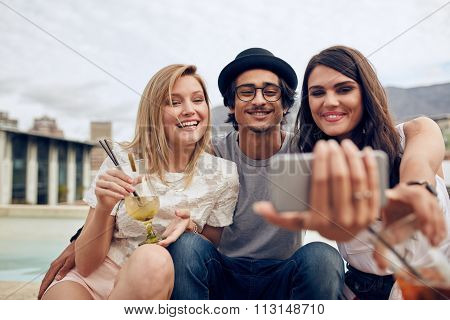 Young People Partying And Taking Selfie