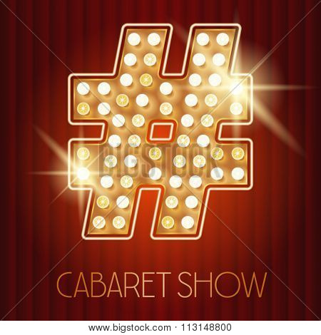 Vector shiny gold lamp alphabet in cabaret show style. Symbol 2