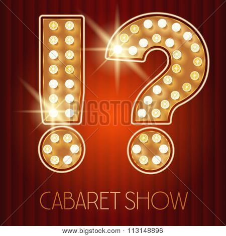 Vector shiny gold lamp alphabet in cabaret show style. Symbol 6