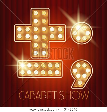 Vector shiny gold lamp alphabet in cabaret show style. Symbol 7