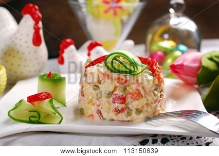Vegetable Salad With Mayonnaise For Easter