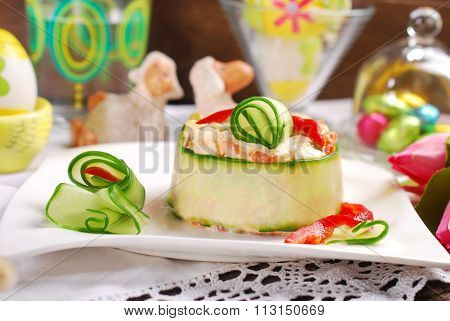 Vegetable Salad With Mayonnaise And Cucumber For Easter