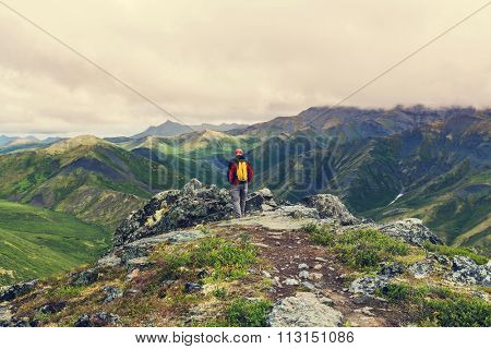 Hike in polar tundra