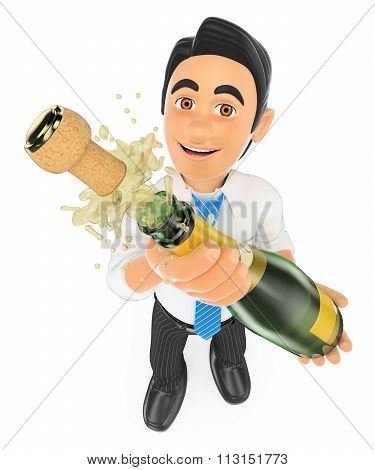 3D Businessman Uncorking A Bottle Of Champagne