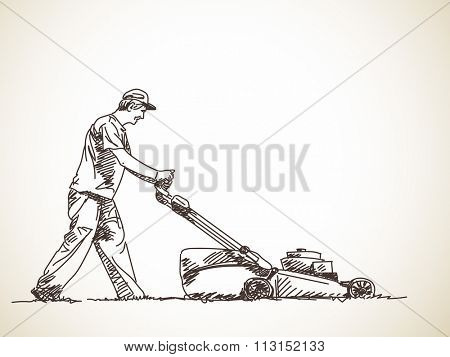 Sketch of man with lawnmower, Hand drawn illustration