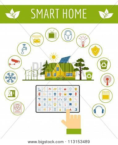 Eco friendly smart house concept. Infographic template. Flat style design