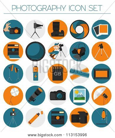 Photography icon set with photo, camera equipment. Colour flat version.