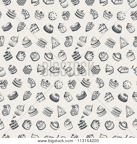 seamless background with cakes and cupcakes